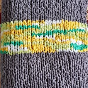 Other - Hand Knit Grey Green and Yellow Soft Blanket Throw